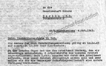 "Letter from Adi Dassler to the collective ""Gemeinschaft Schuhe"""