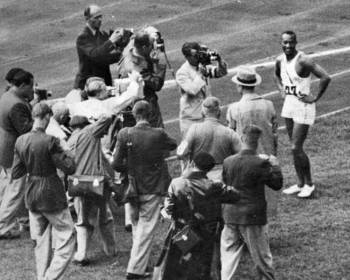 Wearing white Gebrüder Dassler running shoes, Jesse Owens was the star athlete of the 1936 Olympic Games in Berlin