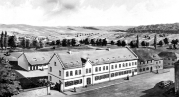 """Betrieb II"", the Dassler brothers' second plant on Würzburger Strasse in Herzogenaurach, which was brought into service in 1938"